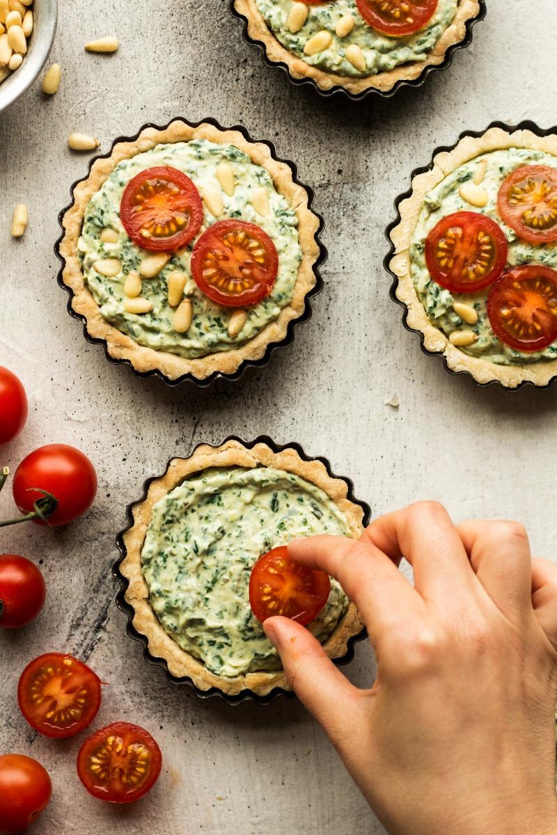 vegan quiche tarts prep