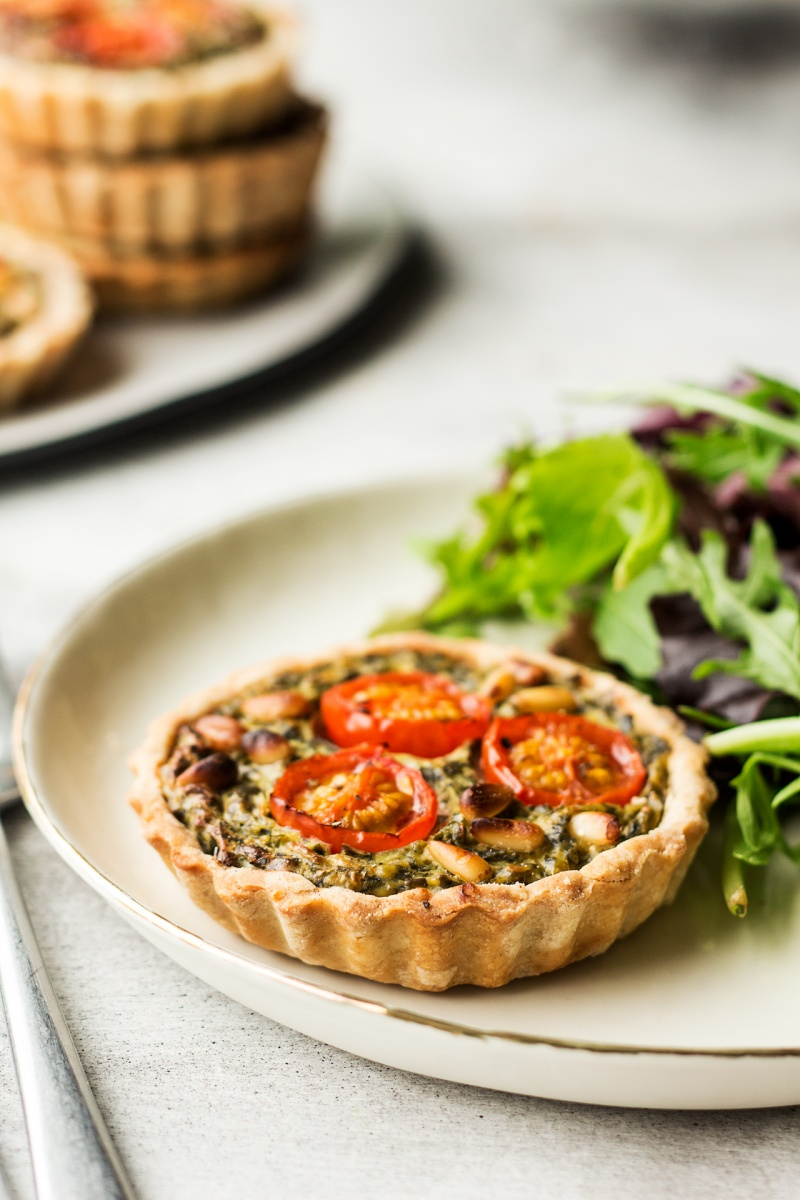 vegan quiche tarts salad