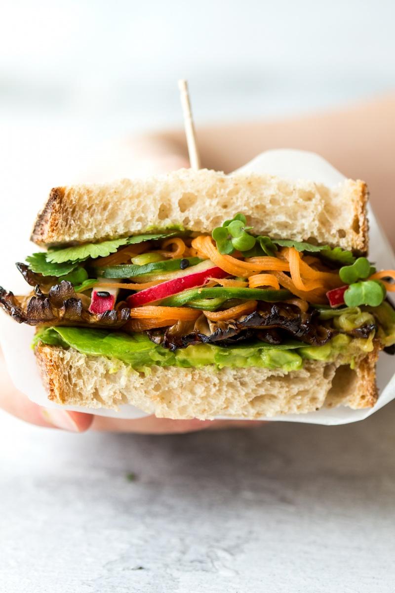 asian mushroom sandwich cross section