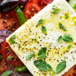 greek salad vegan feta close up