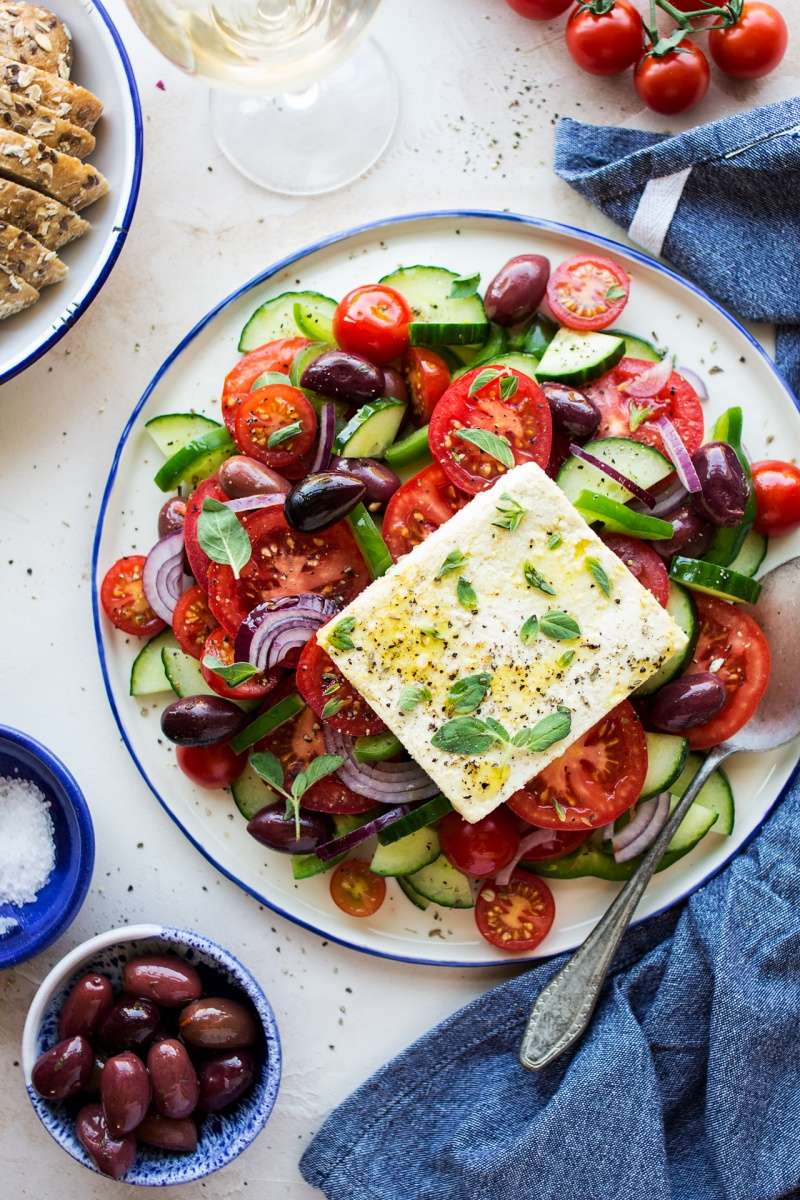 greek salad vegan feta lunch