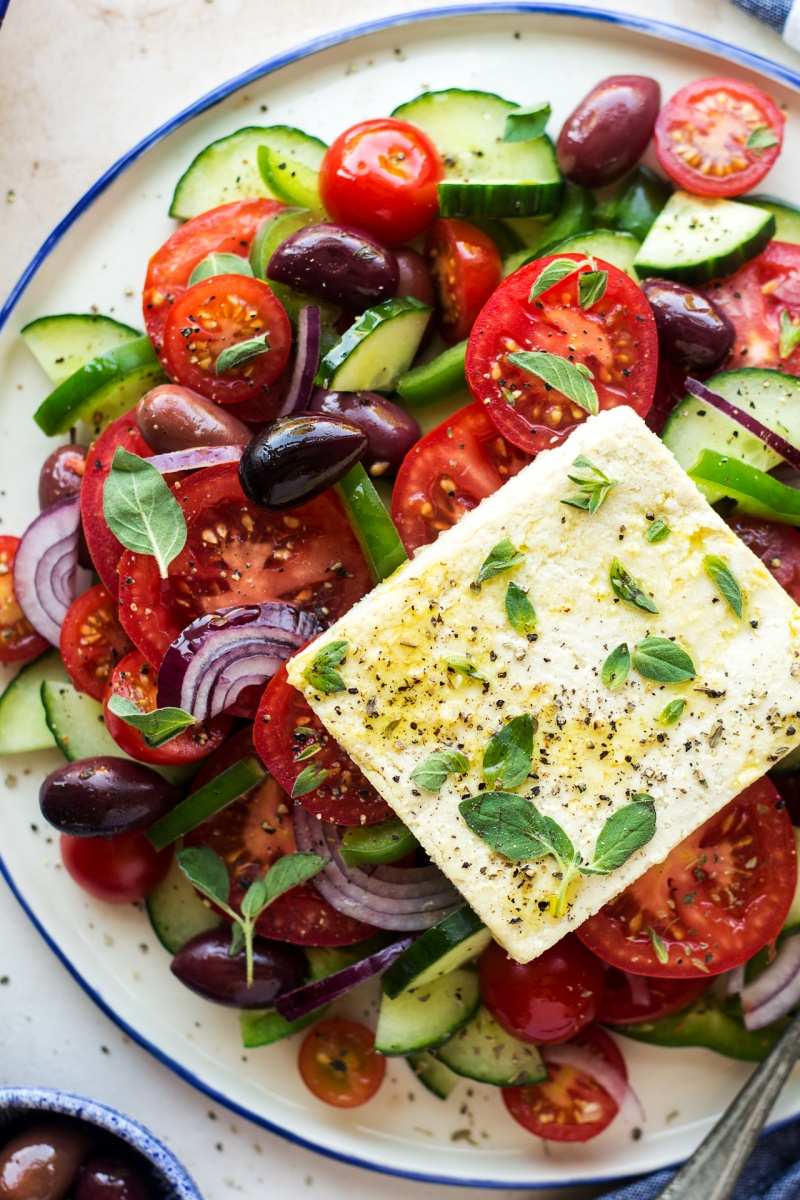 greek salad vegan feta sharing platter