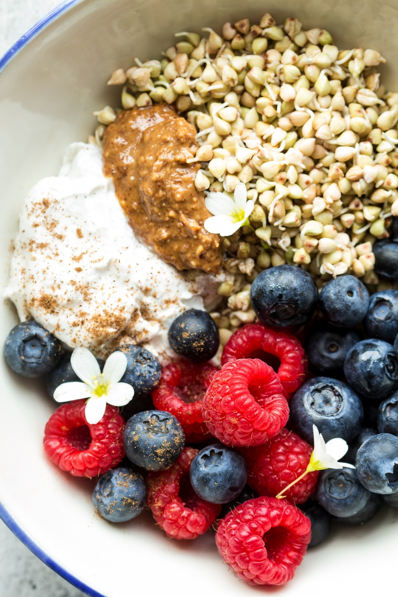 sprouted buckwheat breakfast bowl close up