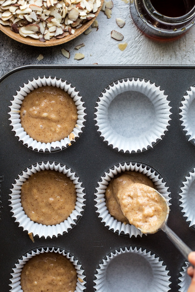 vegan banana bread muffins making