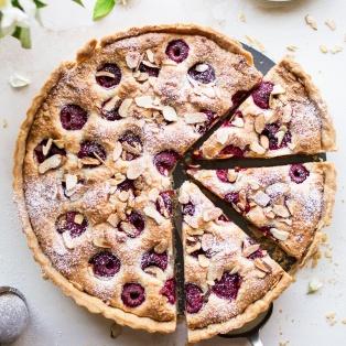 vegan raspberry bakewell tart cut