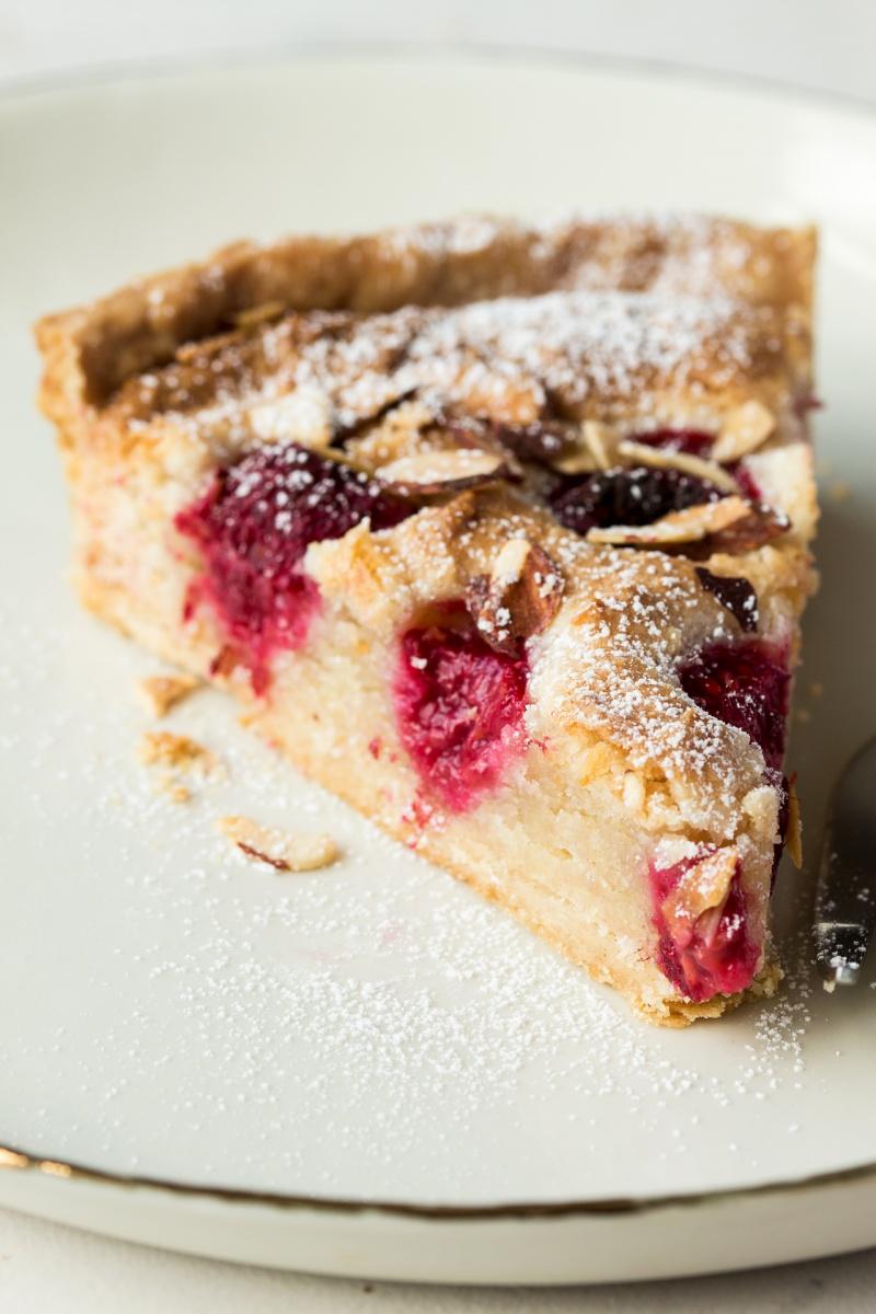 vegan raspberry bakewell tart piece