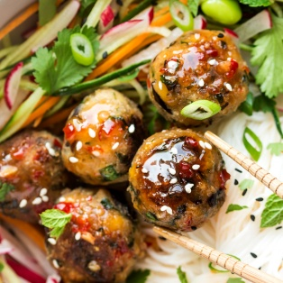 lemongrass aubergine neatballs close up
