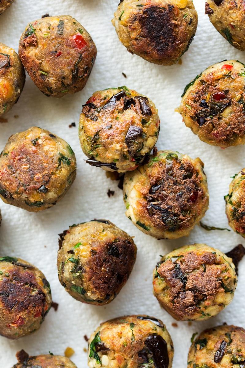 lemongrass aubergine neatballs fried