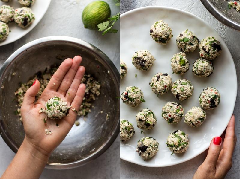 lemongrass aubergine neatballs rolling balls