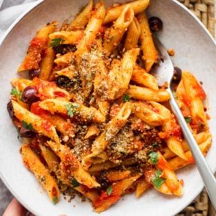 arrabbiata vegan parmesan bowl