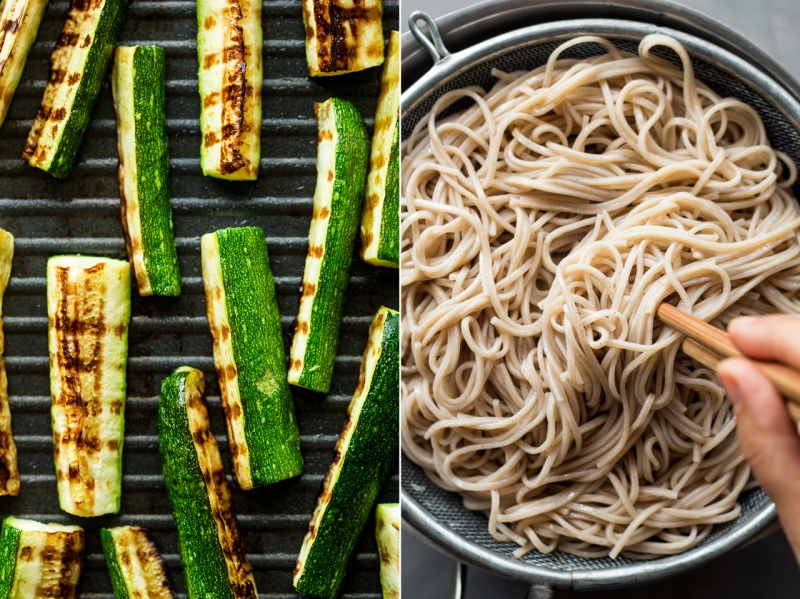 cold soba noodles cooked ingredients