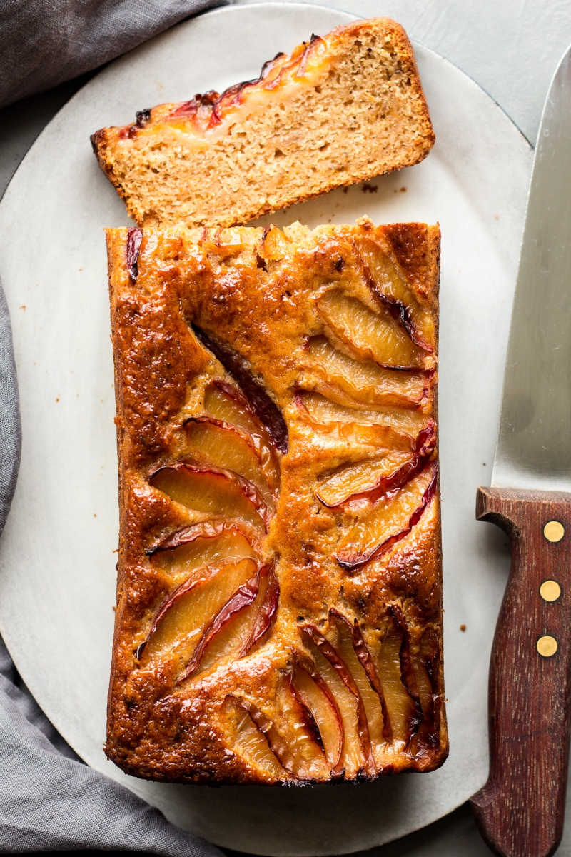 spiced plum loaf cut