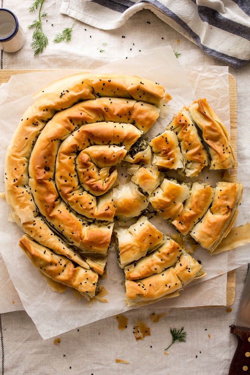 vegan spanakopita cut up