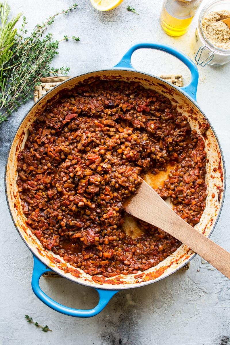 lentil and mushroom bolognese