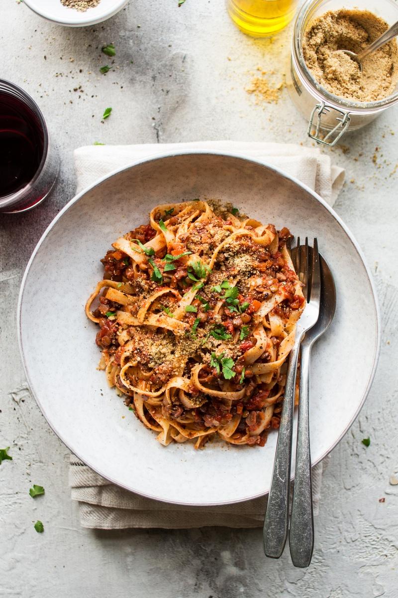 lentil and mushroom bolognese plate