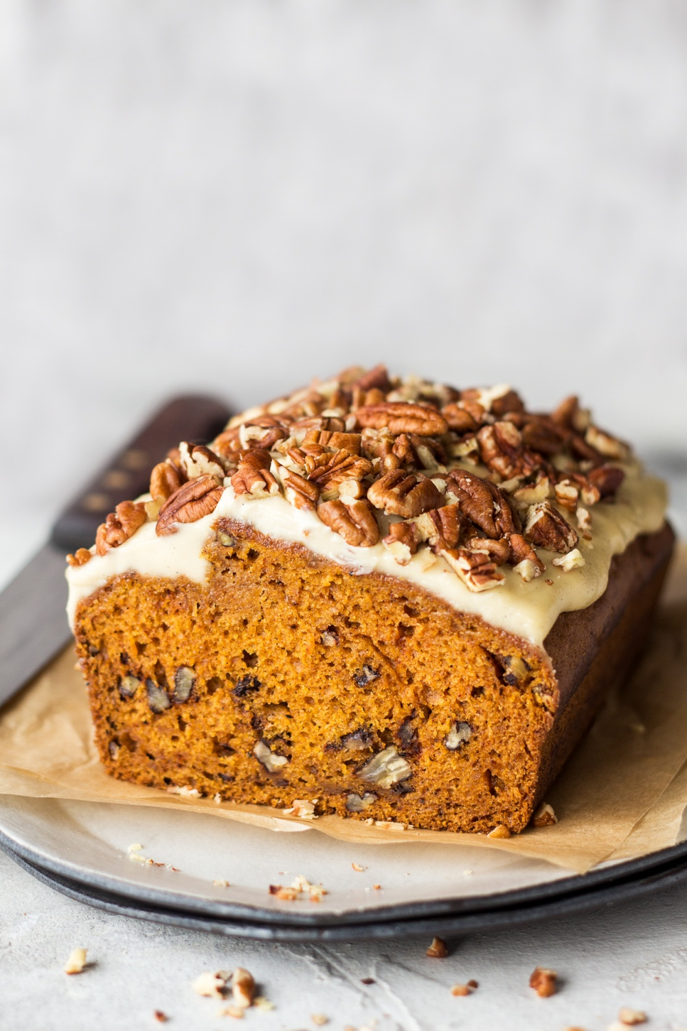 Vegan Pumpkin Bread With Maple Frosting Lazy Cat Kitchen