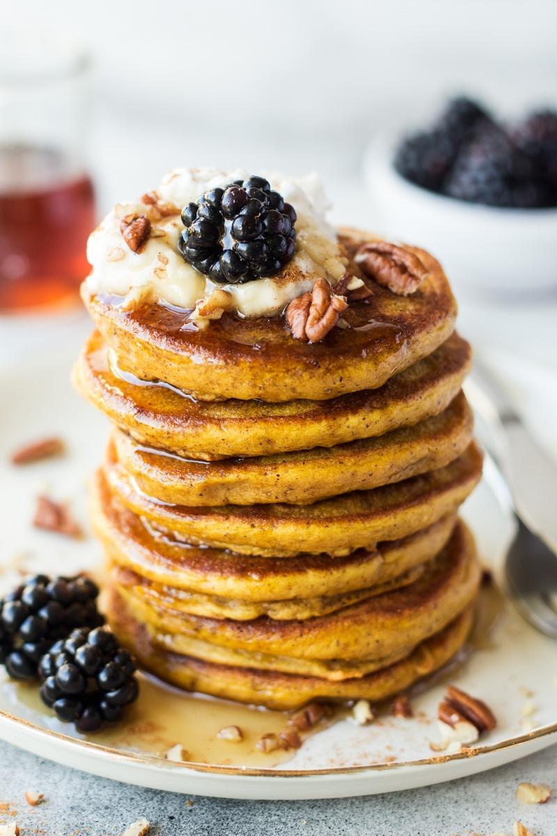 vegan pumpkin pancakes brekkie