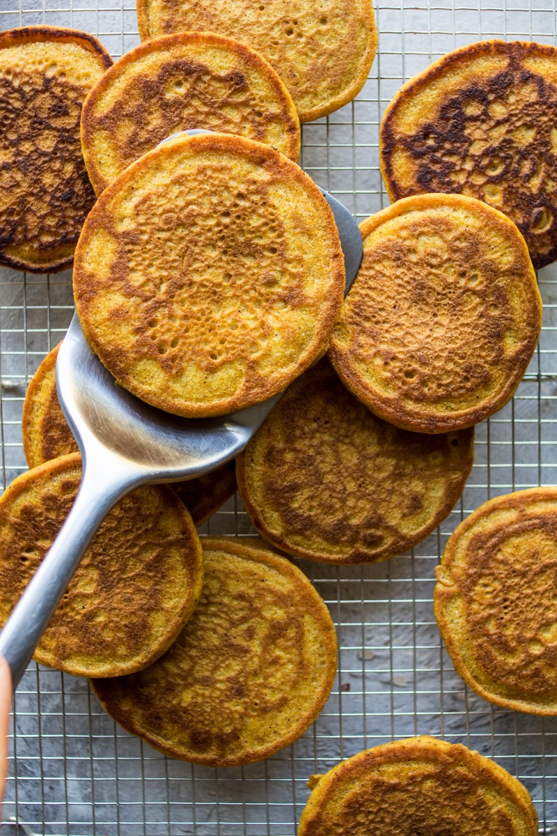 vegan pumpkin pancakes ready