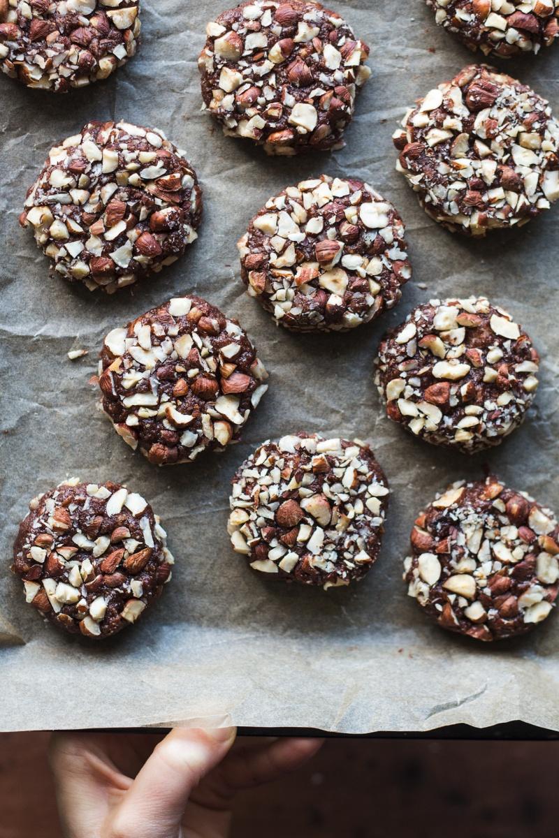 chocolate hazelnut cookies before baking