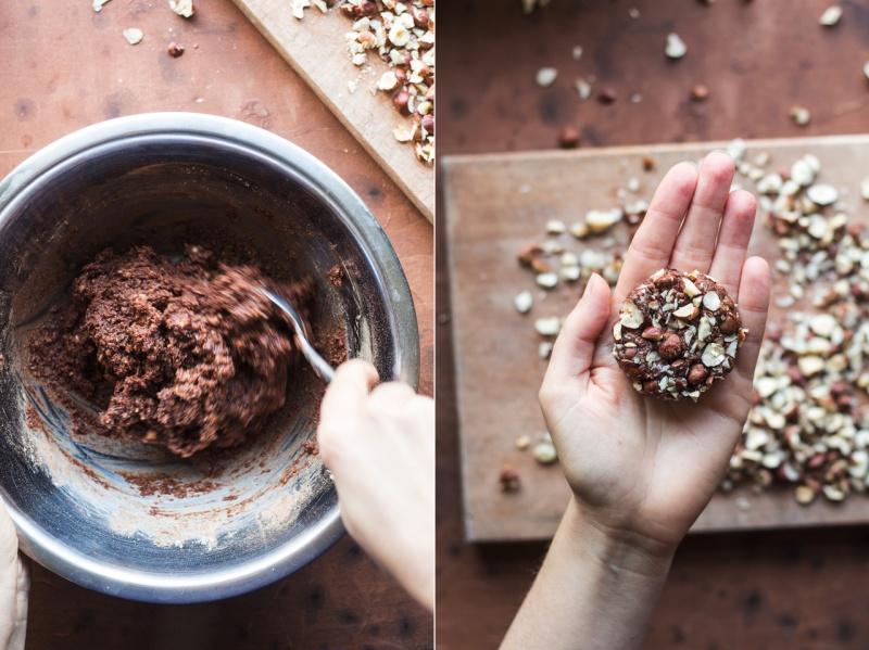 chocolate hazelnut cookies making