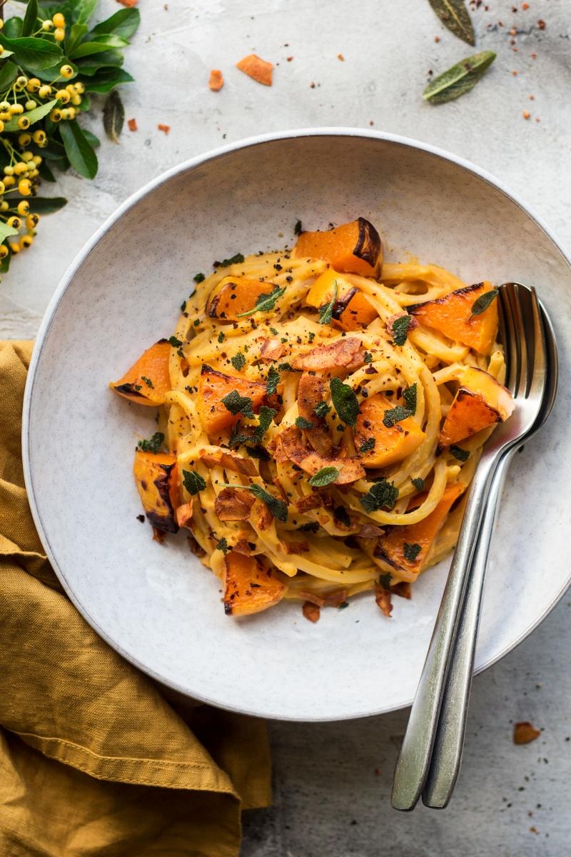 creamy pumpkin pasta plate
