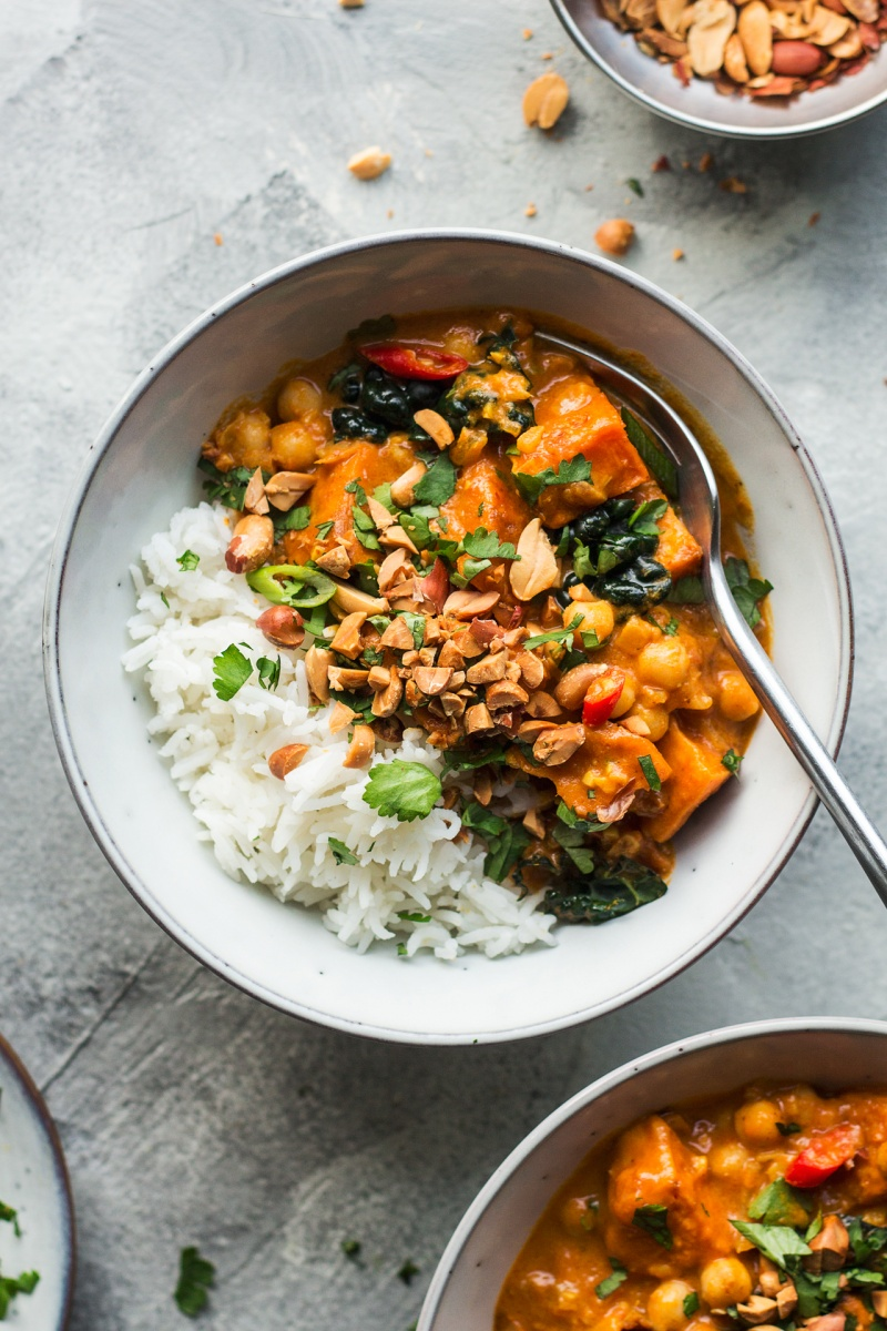 vegan peanut curry two bowls