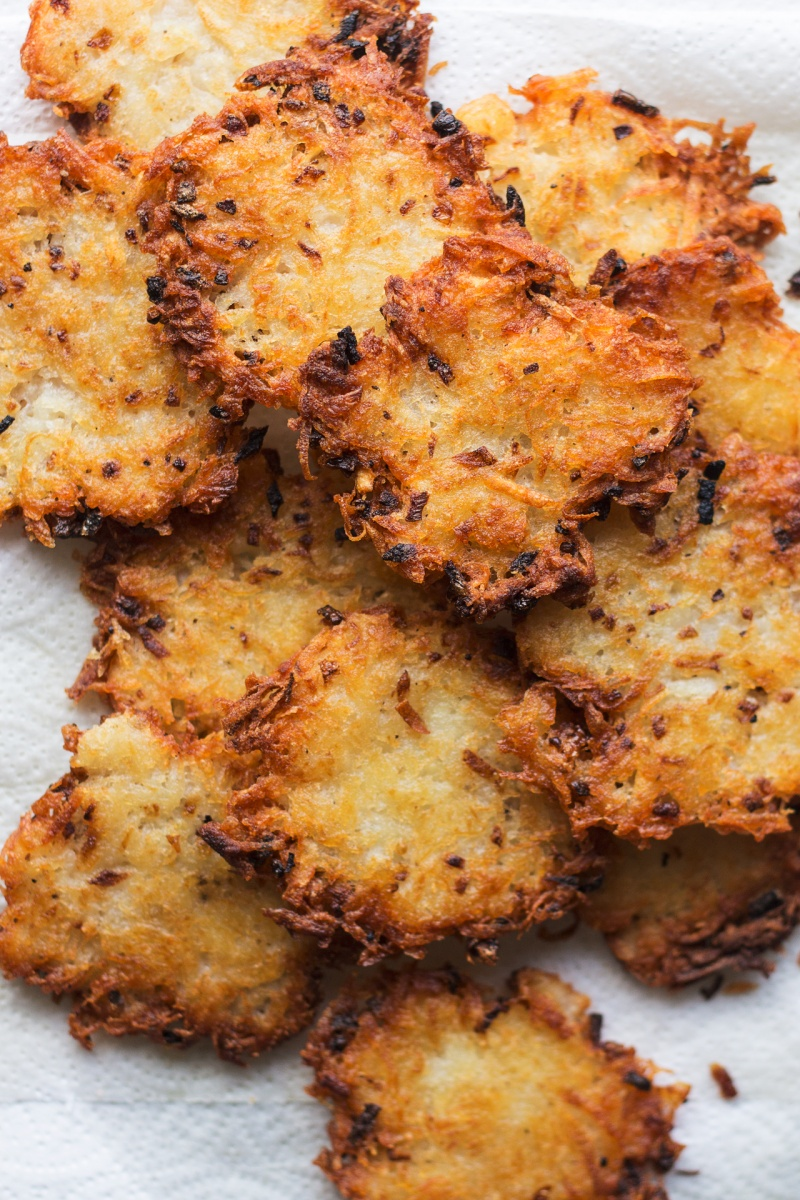 eggless latkes fried stack