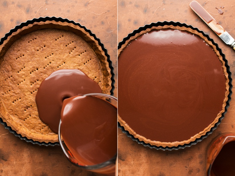 gingerbread amaretto chocolate tart process