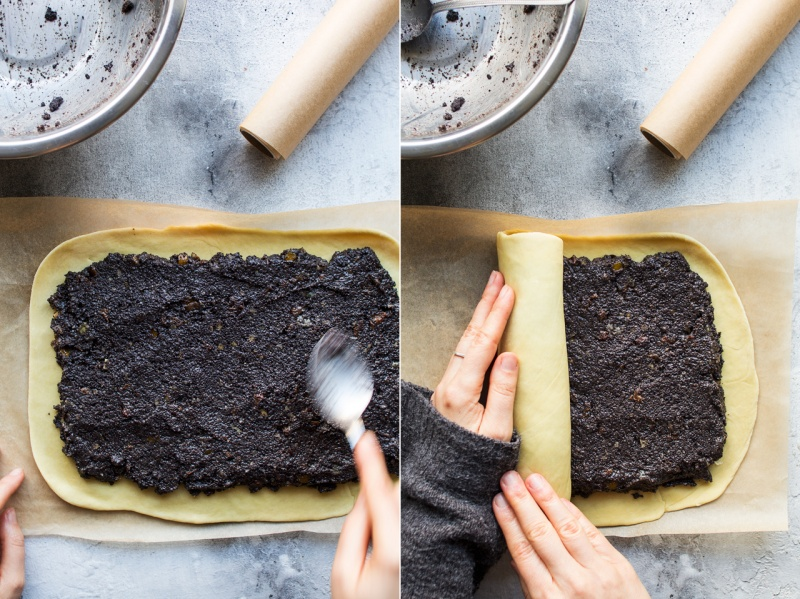 vegan poppy seed roll making