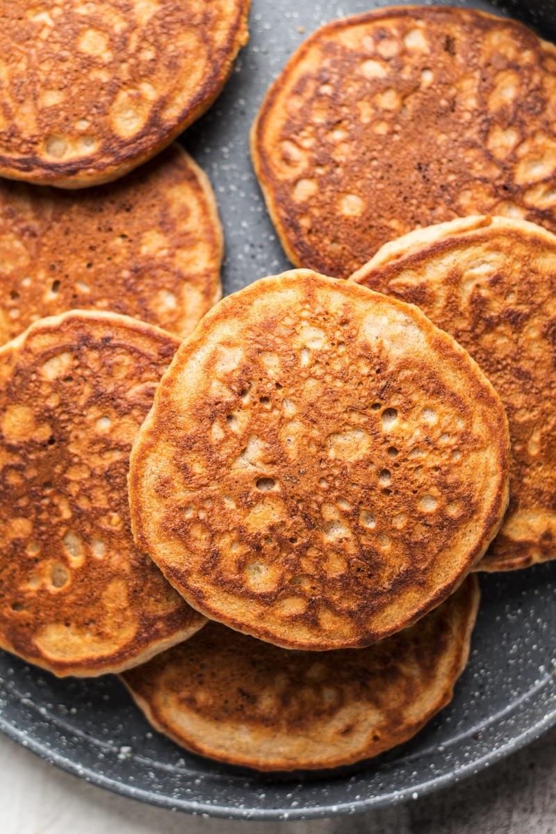 vegan banana pancakes cooked