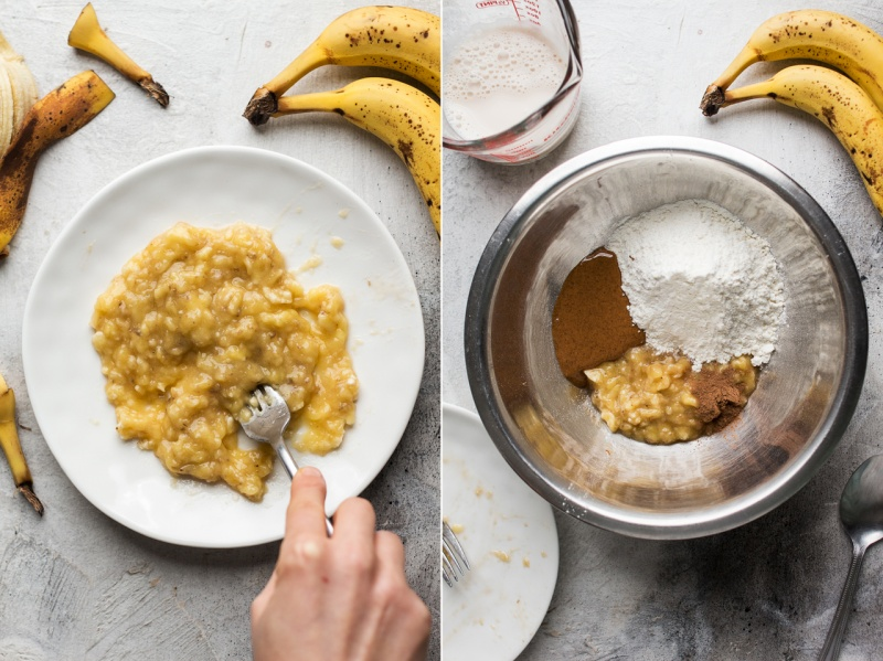 vegan banana pancakes making
