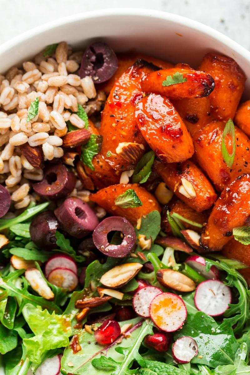 winter vegan bowl roasted carrots macro