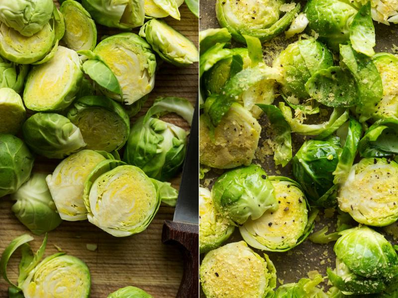 brussel sprout pasta veg prep