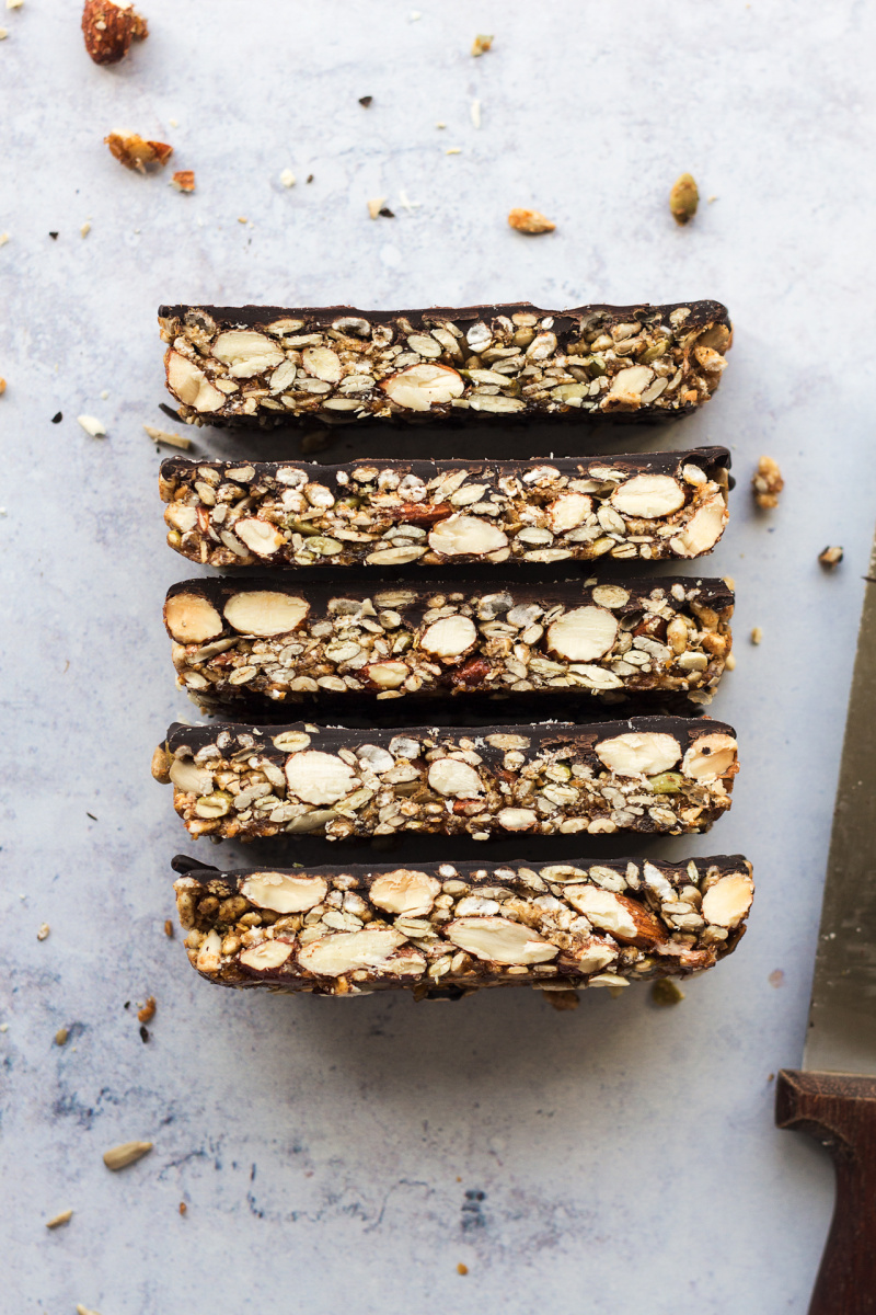 chocolate nut bars marble stack