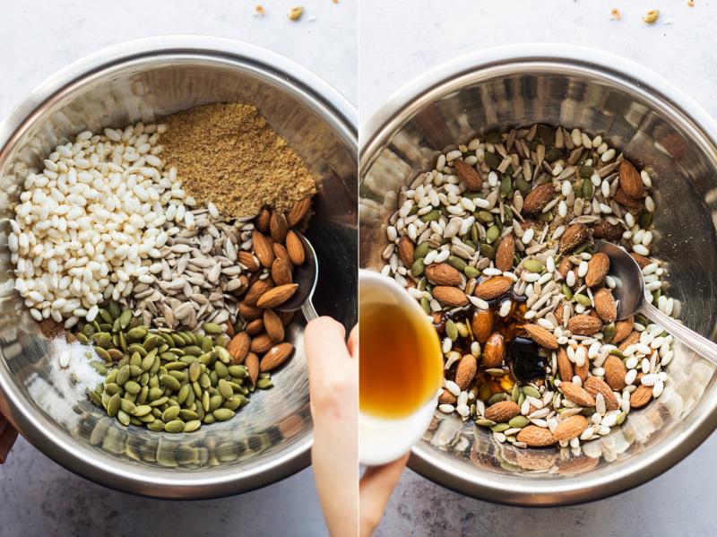 chocolate nut bars mixing
