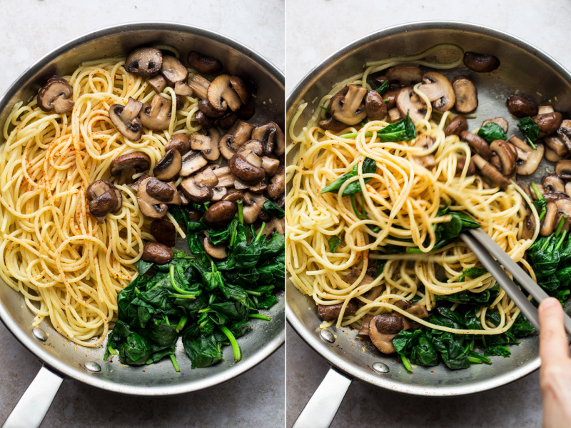 vegan mushroom pasta making