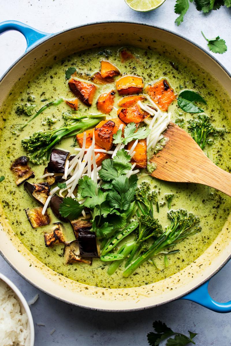vegan thai green curry close up