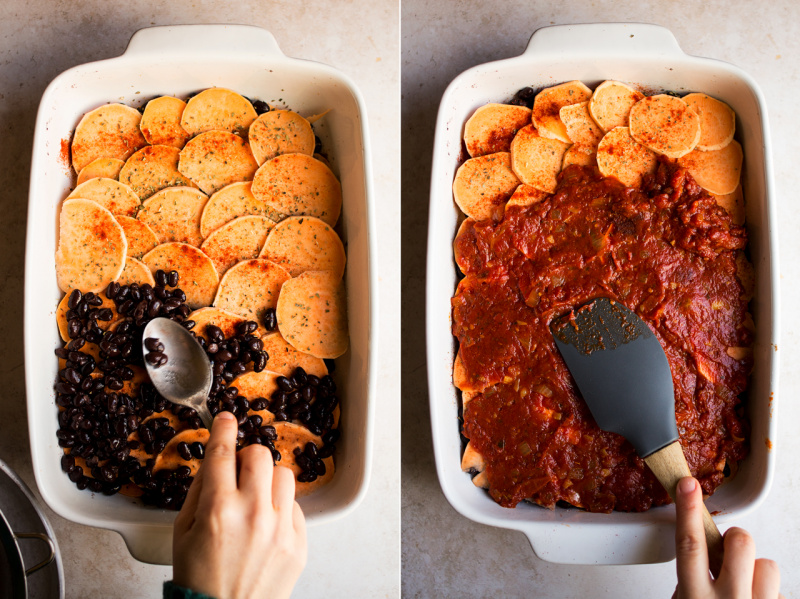 sweet potato black bean bake assembly