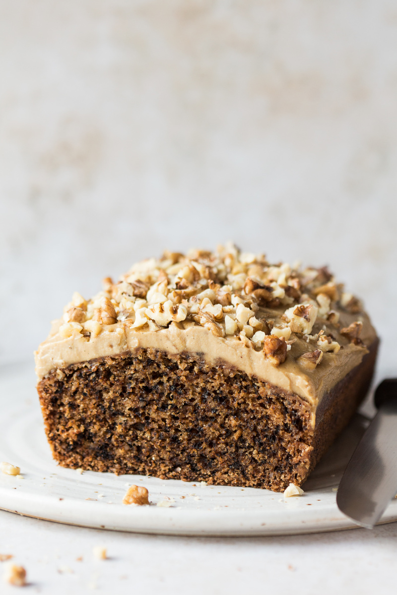 vegan coffee walnut cake cut