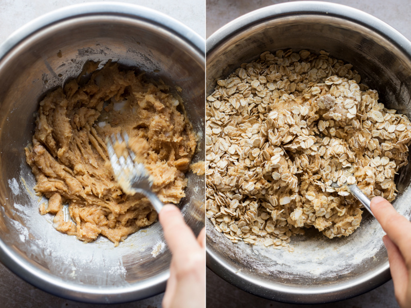 vegan oat cookies mixing