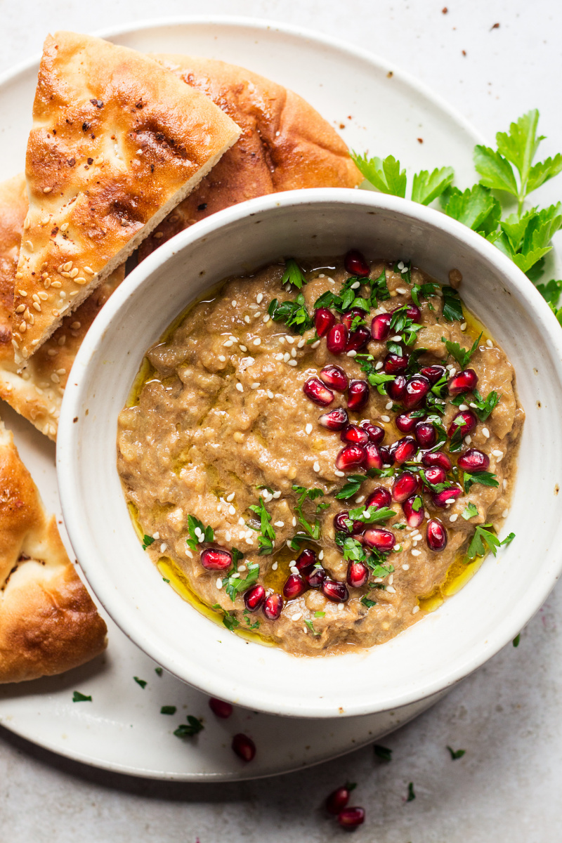 vegan baba ganoush bowl cropped