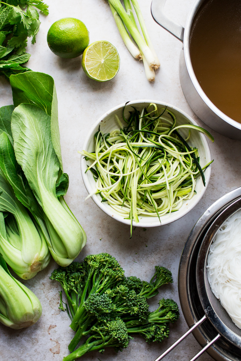 vegan lemongrass soup assembly