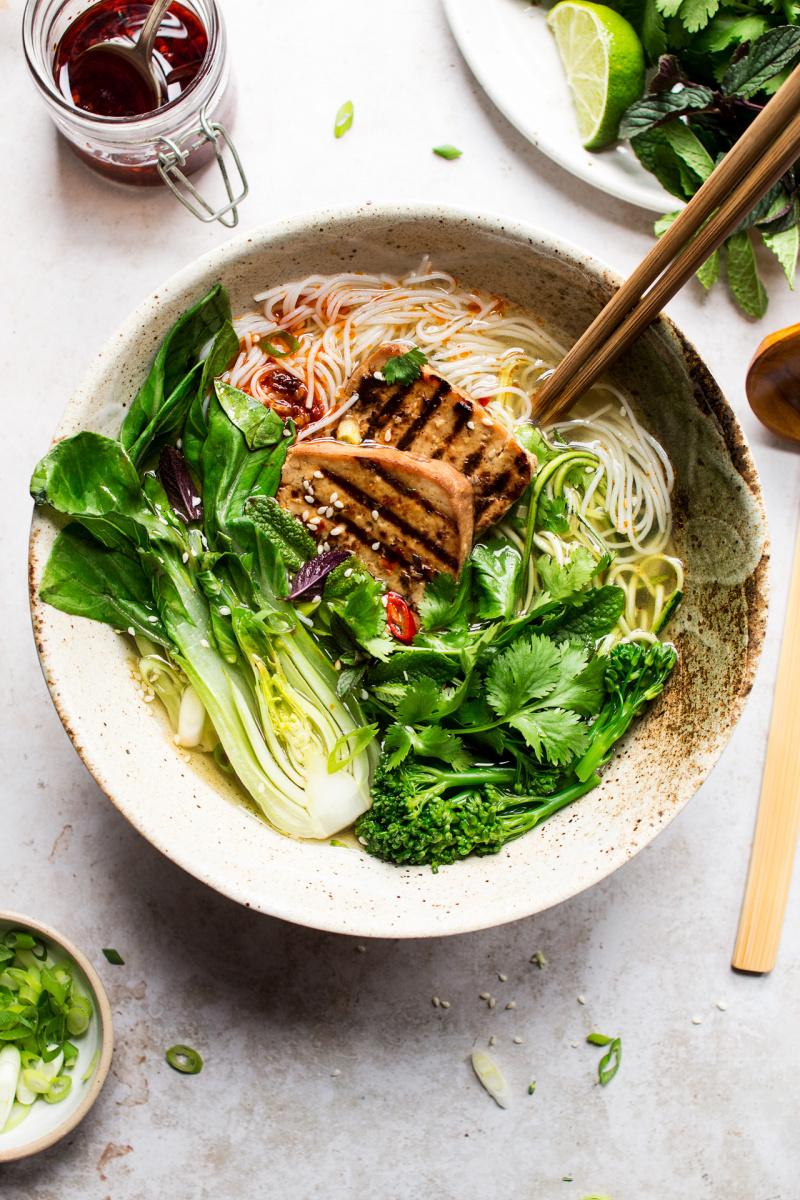 vegan lemongrass soup closeup