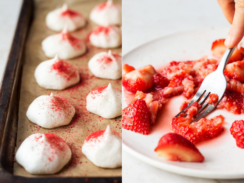 vegan eton mess dusted meringues strawberries