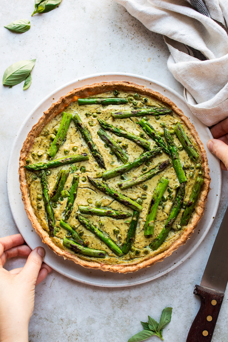 vegan quiche asparagus plate
