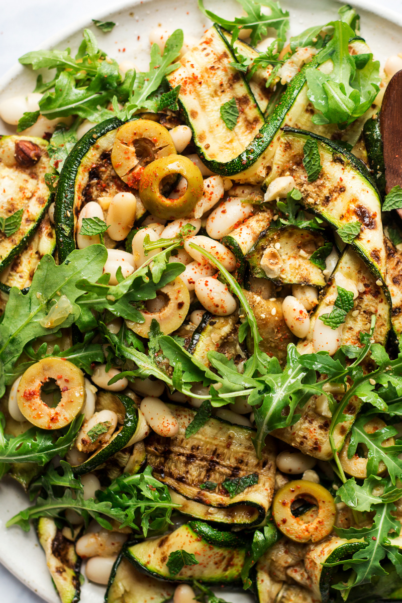 grilled zucchini salad close up
