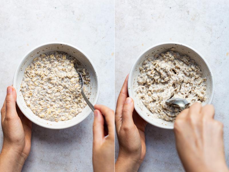 overnight oats mixing