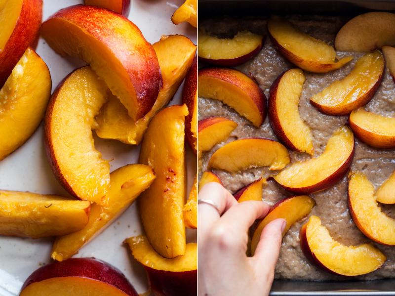 vegan almond cake nectarines