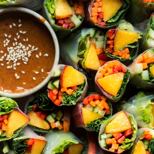 vegan summer rolls close up
