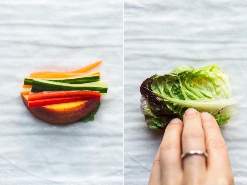 vegan summer rolls process